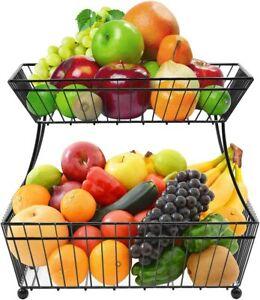Sorbus Fruit Bowl Basket, 2 Tier Countertop Rack for Vegetable Snacks & Bread