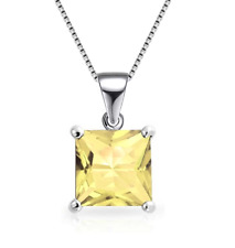 3CT Citrine Pendant Necklace Set In 14K White Gold Over 925 Solid Sterling