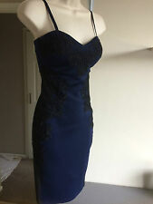 Stunning Lipsy Navy & Black Embroidered Mesh Cut Out Bodycon Wiggle Dress Size 6