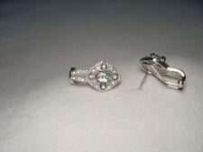Stunning 14K White Gold Filigree Diamond Green Amethyst Earrings