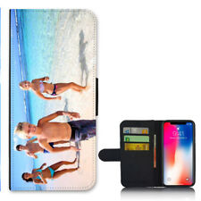 For iPhone X - Personalised PHOTO Wallet Flip case PICTURE cover Logo Image
