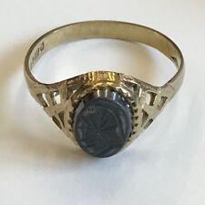 Vintage 9ct Yellow Gold & Jet Centurion Hematite Signet Ring Size O1/2