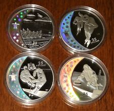 2007-09 LOT of 4 Vancouver 2010 Olympics 25 Dollars Sterling Silver Coins!