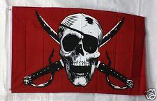 CRIMSON PIRATE flag 3'x5' banner ARGH MATEY HOIST JOLLY ROGER SKULL CROSSBONES