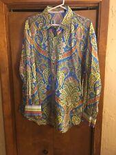 Robert Graham Mens 2XL  Multi-Color Long Sleeve Flip Cuff Button Shirt New