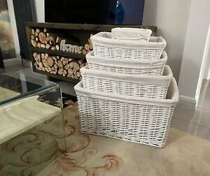 White Shabby Chic Wider Big Full Willow Wicker Storage Kitchen Toy Hamper Basket