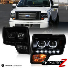 """SINISTER BLACK"" 2009-2014 FORD F150 DRL LED Angel Eye Headlights [PLUG & PLAY]"