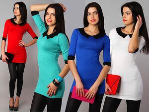 Damen Lovely Tunika Mit Kragen & Manschetten Bodycon Mini Damenkleid Größe 8-12