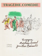 """Great RAOUL DUFY Antique Exhibition Poster """"Tragedie Comedie"""" Framed SIGNED COA"""
