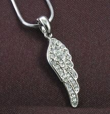 Clear Crystal Rhinestones Angel Wings Necklace Pendant
