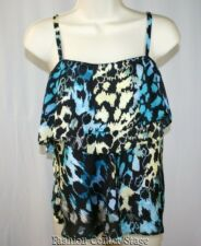 NINE WEST Cami Top Blouse Size 2 XS Black Teal Yellow Blue Ruffle NEW