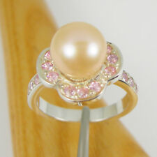 Peach Color Round Pearl and Pink CZ Flower Ring Real 925 Sterling Silver, RHM18