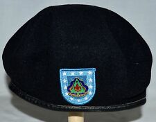Black Wool & Powder River Enamel Pin Beret with Drawcord in Band Sz 6 7/8 Canada