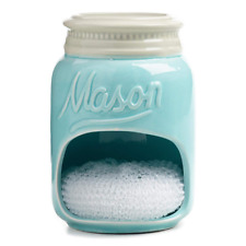 Mason Jar Ceramic Sponge Scrubber Holder with - Blue by WM