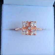 Antique Cushion Cut Morganite & Diamond Rose Gold Ring