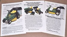 1984-85 JOHN DEERE Lawn Tractor advertisements x3, R70, 116, riding mowers ad