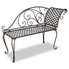 Us Garden Chaise Lounge Brown Metal Antique Scroll-patterned Patio Outdoor