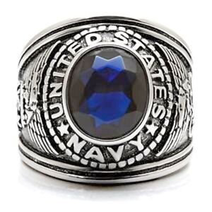 United States Navy Ring Stainless Steel Blue US Military Size 12 13