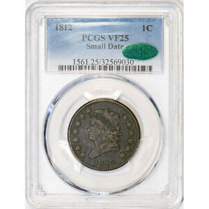 1812 1C Small Date S-290, R.1 PCGS VF25 CAC NO RESERVE!!