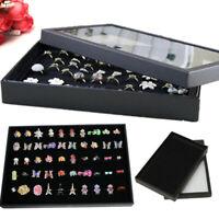 100 Ring Lady Jewelry Display Storage Box Case Tray Show Organiser Holder SL