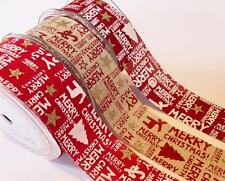 Bertie's Bows Merry Christmas 38mm Burlap Wired Edged Ribbon - sold by the metre
