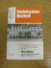 30/08/1976 Colchester United v Milwall [Football League Cup Replay] (token remov