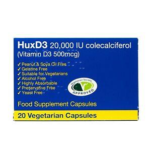 Vitamin D3 20000iu 20 Capsules, HuxD3,High Strength D3, Vegetarian Kosher Halal