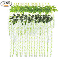 12 Pack Artificial Wisteria Vine Ratta Hanging Garland Silk Flower Home Decor