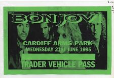 BON JOVI VEHICLE PERMIT 1995 TRADER PASS CARDIFF ARMS PARK CONCERT JUNE 1995 GEM