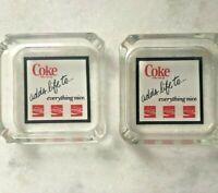 Coca Cola 1970s Coke Adds Life...Square Glass Ashtray - Free Shipping! Set Of 2