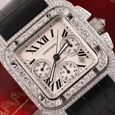 Cartier Santos 100 Chronograph 41mm Stainless Steel Diamond Watch W20090X8