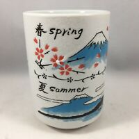 "Japanese Yunomi Sushi Tea Cup 4""H Porcelain Four Seasons Scenery, Made in Japan"
