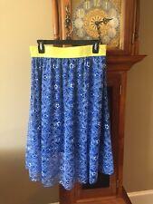 LuLaRoe Lola Floral Lace Skirt Medium Blue White Yellow Waistband Lined