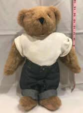 "Vermont Teddy Bear Jointed Shaggy Brown Large 15"" Plush with Love Tattoo"