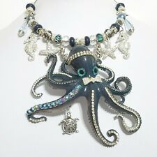 Big Crystal Octopus Seahorses Starfish Necklace Earrings Ring One of a Kind