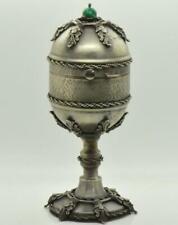 Rare Imperial Russian silvered&malachite Easter egg desk clock/jewelry case.