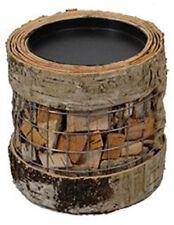 "Natural Birch Bark Wood & Wire Pillar Candle Holder Home Decor 4.5"" D x 4"" H NEW"
