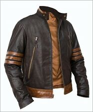 X-Men Wolverine Origins Bomber Style Brown Real Leather Jacket Size S M L XL 2XL