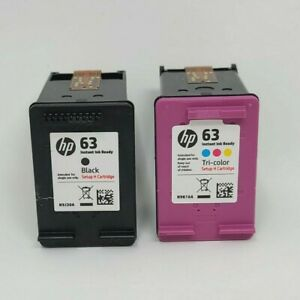 HP 63 Black & 63 Tri-Color empty - virgini ink cartridges - Lot of 2 used ink