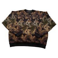 VTG 90s Bachrach Tundra Brown Coogi Type Tri Blend Wool Sweater Men's Large