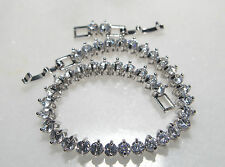 Stunning 18k/18ct White Gold Filled Tennis Bracelet Made With Swarovski Crystal