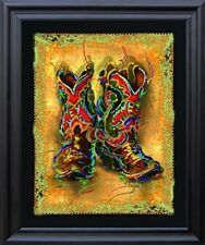 Western Cowboy Boots Rodeo Contemporary Black Framed Wall Decor Art Picture