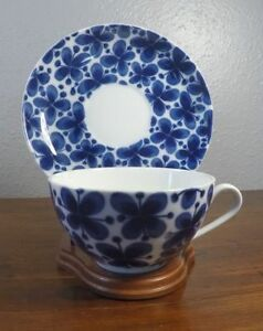 Rorstrand Mon Amie Blue and White BREAKFAST Cup and Saucer 5B