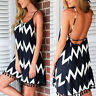 EG_ Women's Fashion Summer Wave Pattern Tassels Backless Strap Beach Dress Perfe