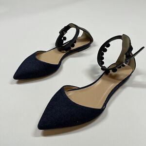 J Crew Pom Pom Pointy Toe Ankle Strap Navy Blue Flats Shoes Size 5.5
