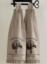 SAWYER MILL CHARCOAL WINDMILL Kitchen Dish Towel Set of 2 Farmhouse Stencil VHC