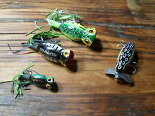 Lot Of 4 Arbogast Lures 3 Hula Poppers and 1 Jitterbug SIze And Color Variety