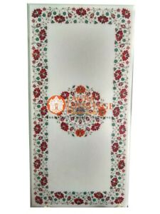 4'x2' Marble Dining Table Top Carnelian Malachite Inlay Floral Home Decor E1483