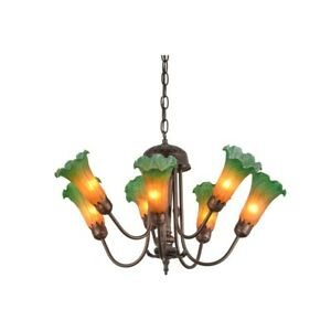 Meyda Lighting 24'W Amber/Green Pond Lily 7 Lt Chandelier - 160614