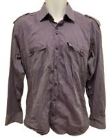 Absolute Rebellion Mens Size M Slim Fit Long Sleeve Shirt Purple Striped